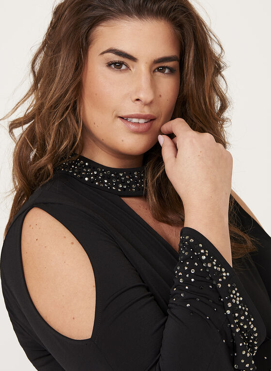 Crystal Studded Choker Dress, Black, hi-res