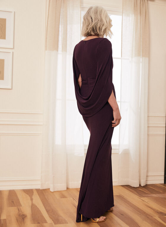 Cowl Sleeve V-Neck Gown, Purple