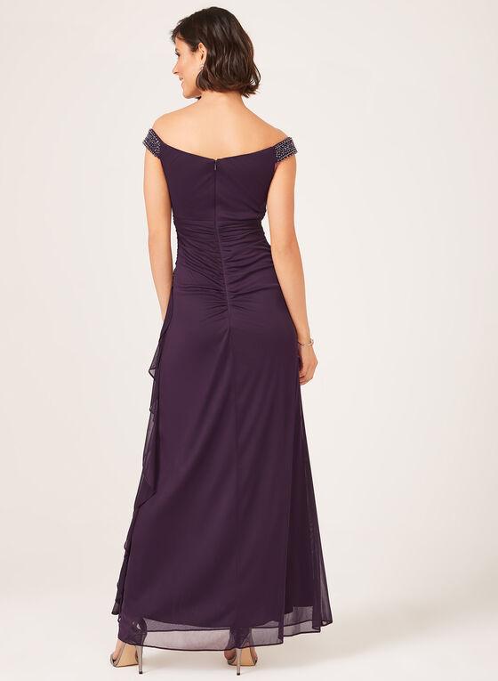 Robe encolure cœur et jupe longue effet drapé, Violet, hi-res