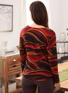 Wave Print Rib Knit Top, Red