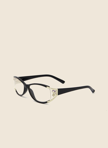 Floral Detail Reading Glasses, Black,  glasses, reading, rectangular, floral, plastic, spring summer 2020