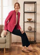 Single-Button Crepe Blazer, Pink