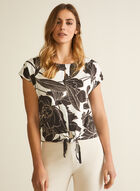 Floral Print Tie Detail Top, White