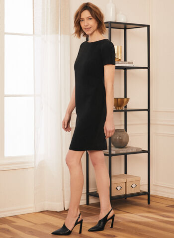 Short Sleeve Day Dress, Black,  dress, round neck, short sleeves, made in Canada, spring summer 2021