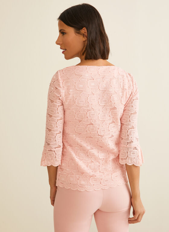Elbow Sleeve Crochet Lace Top, Pink