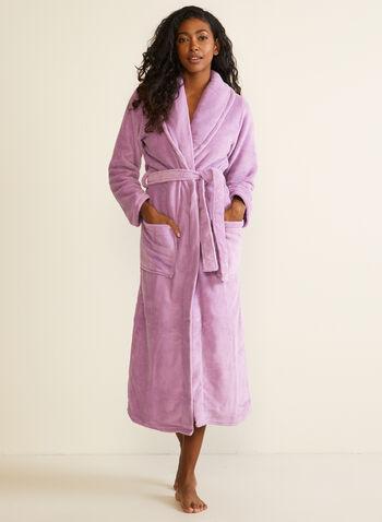 Belted Fleece Robe , Purple,  fall winter 2020, robe, fleece, belt, pyjama