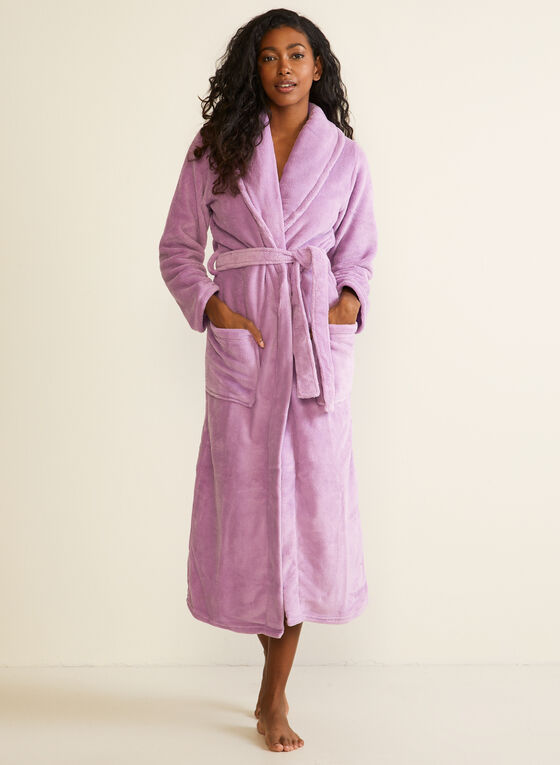 Belted Fleece Robe , Purple