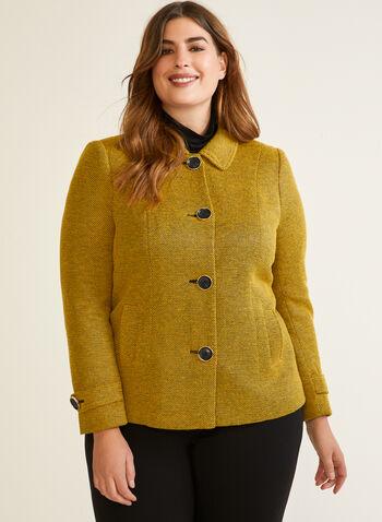 Blazer boutonné en tricot à col chemisier, Jaune,  blazer, col chemisier, boutons, tricot, automne hiver 2020
