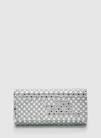 Checkered Crystal Clutch , Silver, hi-res