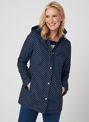 Weatherproof - Polka Dot Print Raincoat, Blue,  removable hood, long sleeves, spring 2019