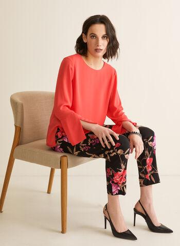 Pantalon fleuri étroit coupe cité, Noir,  pantalon, jambe étroite, pull-on, fleurs, bengaline, printemps été 2020