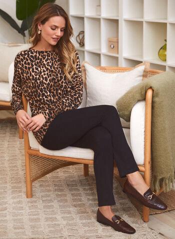 Haut à manches dolman et motif léopard, Noir,  haut, pull, encolure bateau, manches longues dolman, large bande ourlet, motif léopard, animal, automne hiver 2021, blouse