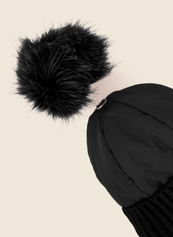 Removable Pom Pom Quilted Hat, Black