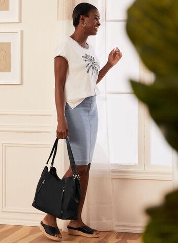 Zipper Detail Nylon Handbag, Blue,  bag, handbag, tote, shoulder strap, nylon, zip pockets, spring summer 2021