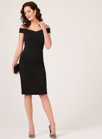 ECI New York - Off The Shoulder Fitted Dress, Black, hi-res