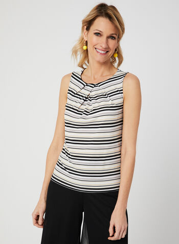Stripe Print Top, Black, hi-res