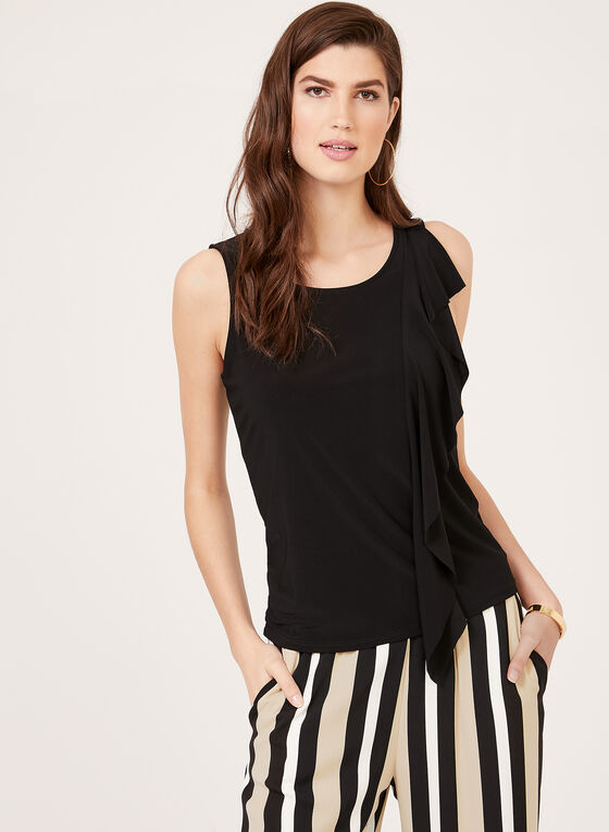 Ruffle Front Sleeveless Top, Black, hi-res