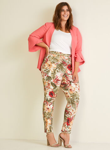 Tropical Print City Fit Pants, Orange,  pants, pull-on, city, slim leg, tropical, spring summer 2020