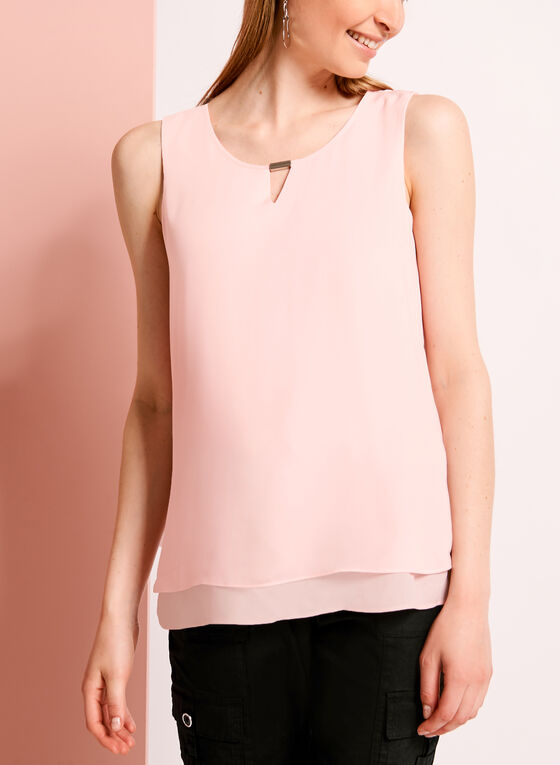 Double Layer Keyhole Neck Blouse, Pink, hi-res