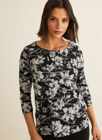 ¾ Sleeve Floral Print Top, Grey,  canada, top, floral print, printed top, floral print top, 3/4 sleeves, winter top, fall 2019, winter 2019