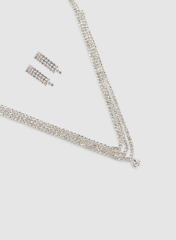 Ensemble collier et boucles d'oreilles à cristaux, Argent, hi-res,  multirangs, cascade, automne hiver 2019