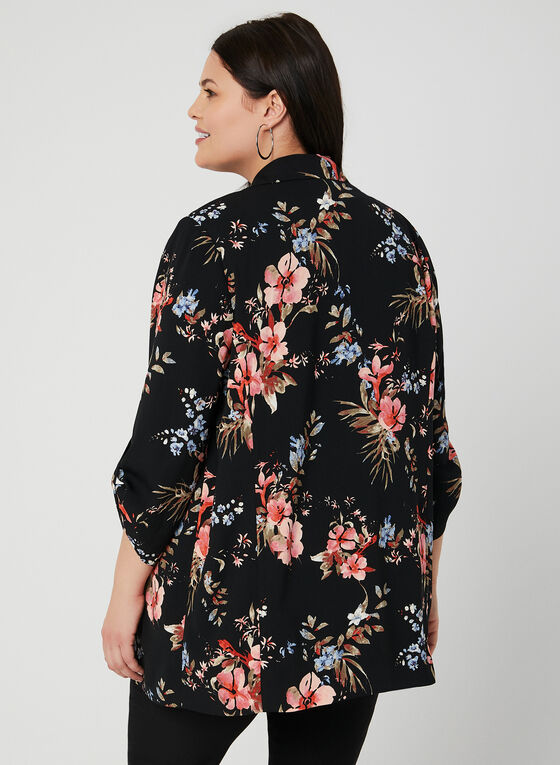 Floral Print Open Front Jacket, Black