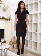 Cap Sleeve Belter Dress, Black