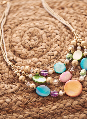 Collier triple rang à billes colorées, Multi,  accessoires, bijoux, collier, billes, perles, couleur, doré, trois rangs, printemps été 2021