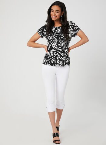 Abstract Print Jersey Top, Black, hi-res