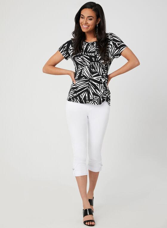 Abstract Print Jersey Top, Black, hi-res