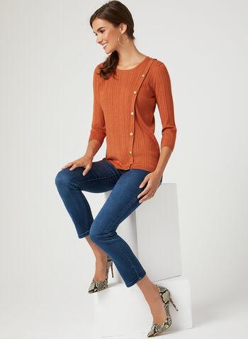 Metal Detail Rib Knit Sweater, Orange, hi-res