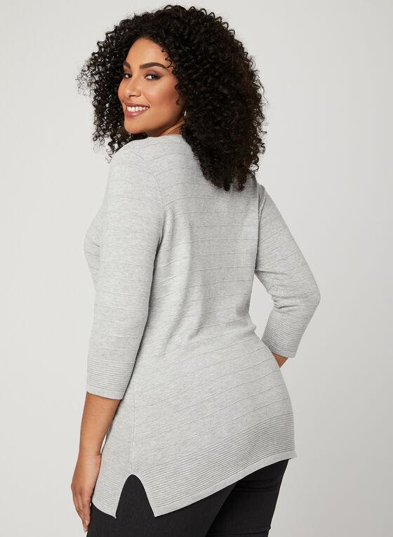 Pull en tricot ottoman à détails œillets , Gris, hi-res