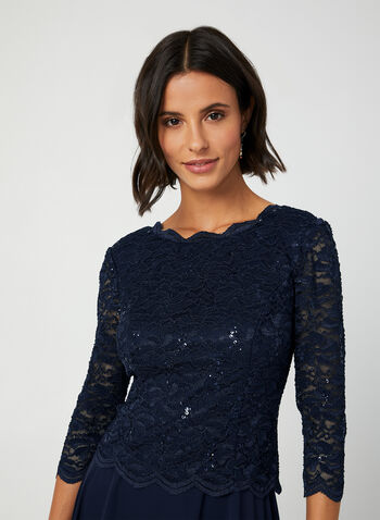 Sequin Lace Dress, Blue, hi-res,  ¾ sleeves, 3/4 sleeves, lace, chiffon, glitter, sequin, midi, fall 2019, winter 2019