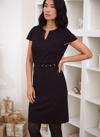 Cap Sleeve Belter Dress, Black,  fall winter 2020, dress, belt, cap sleeves, short sleeves, little black dress, ponte di roma, zipper