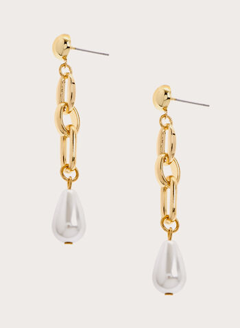 Pearl Detail Dangle Earrings, Off White, hi-res