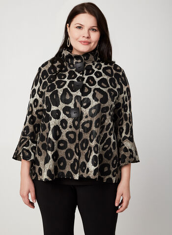Frank Lyman - Animal Print Jacket, Black, hi-res,  fall winter 2019, Made in Canada, bell sleeves