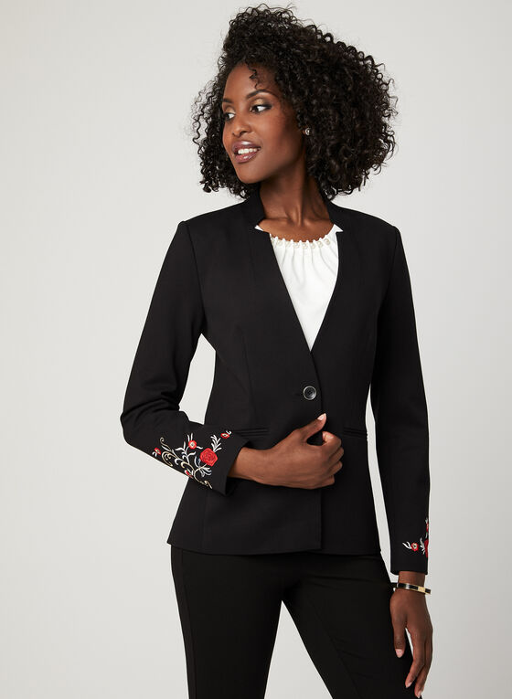 Embroidered Notch Collar Blazer, Black, hi-res