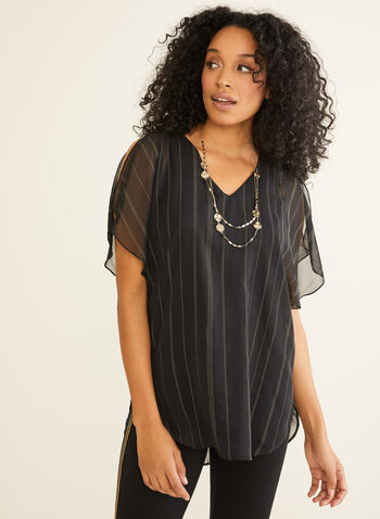 Striped Chiffon Tunic Blouse, Black,  Canada, blouse, tunic, chiffon, fall 2019, winter 2019