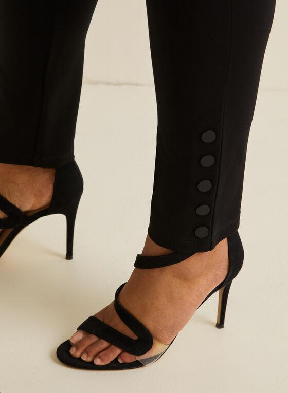 Button Detail Leggings , Black