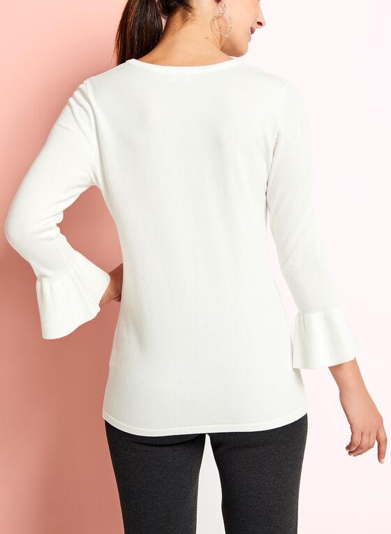 Haut tricot col ajouré et manches à volants, Blanc cassé, hi-res