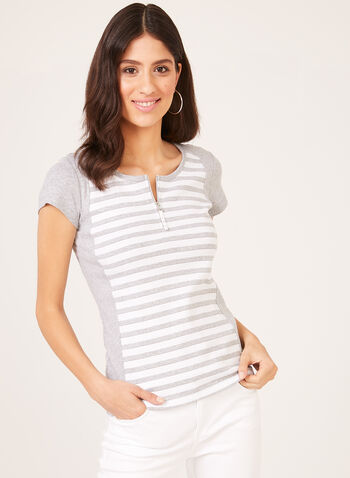 Stripe Print Cotton T-Shirt , Grey, hi-res
