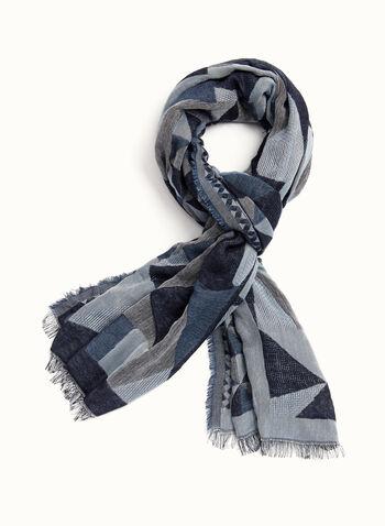 Foulard motif géométrique à franges, , hi-res