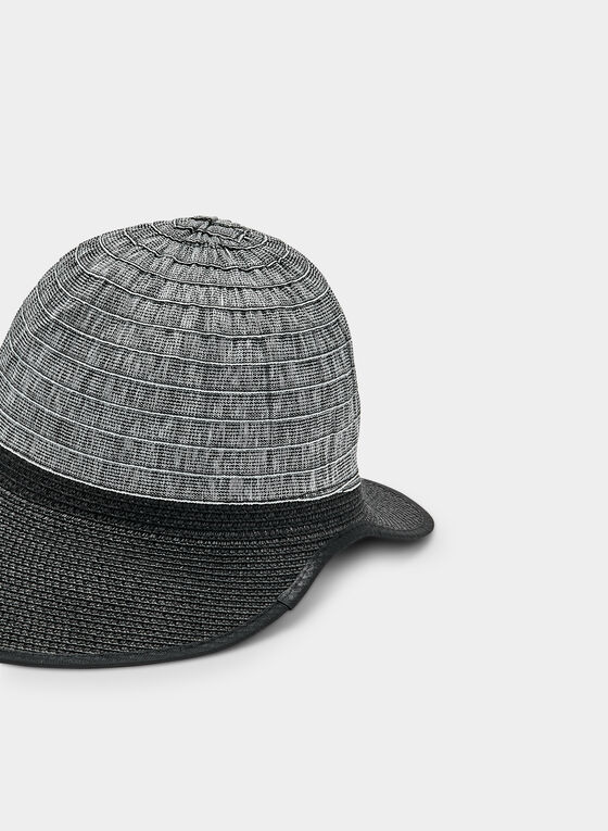 Two-Tone Cloche Hat, Black, hi-res
