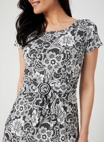 Perceptions - Lace Print Fit & Flare Dress, Silver,  midi dress, jersey, short sleeves, paisley print,