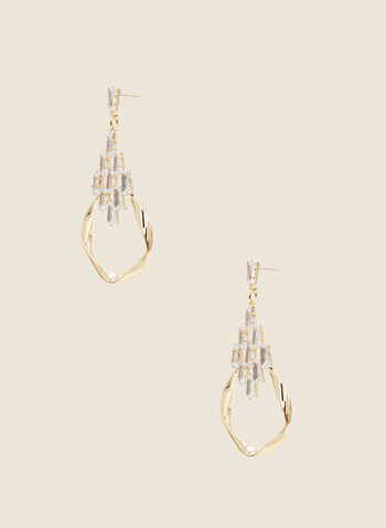 Twist & Crystal Dangle Earrings, Gold,  spring 2021, jewelry, jewellery, earrings, accessories, dangle, two tiers, 2 tiers, evening, baguette, crystal, cluster, twisted, wavy, open ring, hoop