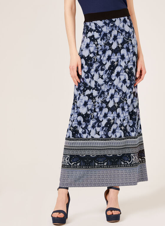 Floral Print Pull-On Maxi Skirt, Blue, hi-res