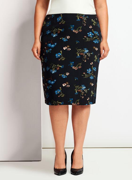 Jupe étroite à motif floral, Noir, hi-res