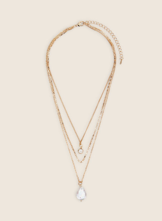 Triple Row Pearl Pendant Necklace, Gold