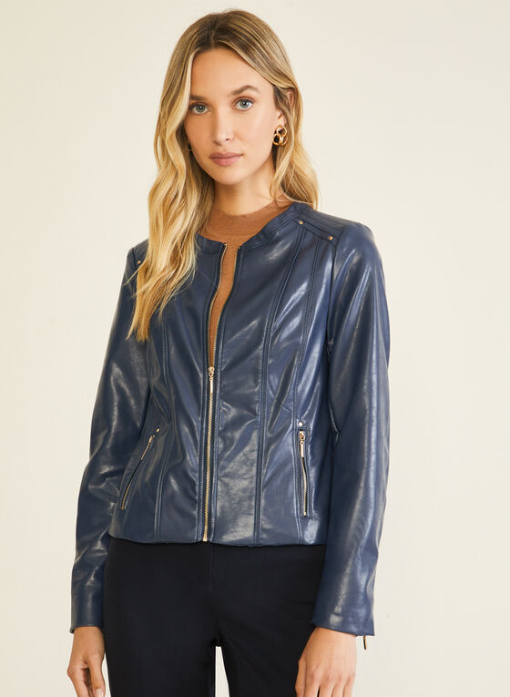 Vegan Leather Zip Front Jacket, Blue