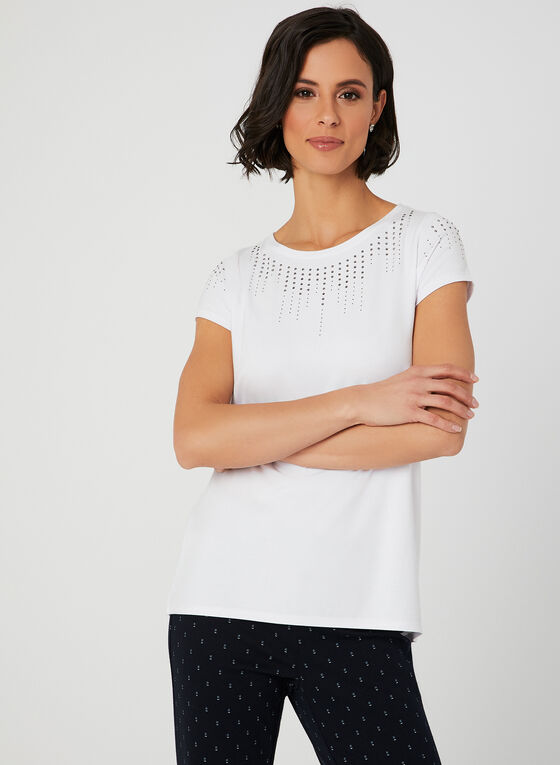 T-shirt en jersey à détails cristaux , Blanc